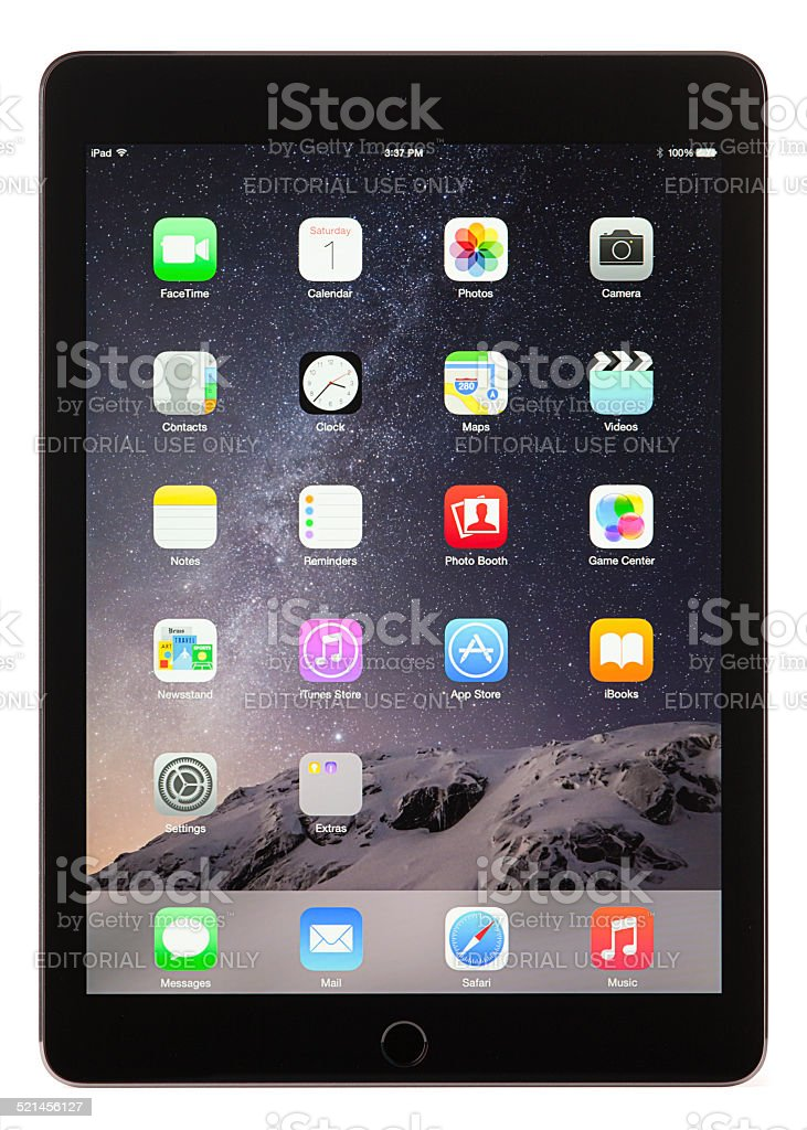 Apple iPad Air 2 Space Gray Black with Clipping Paths stock photo