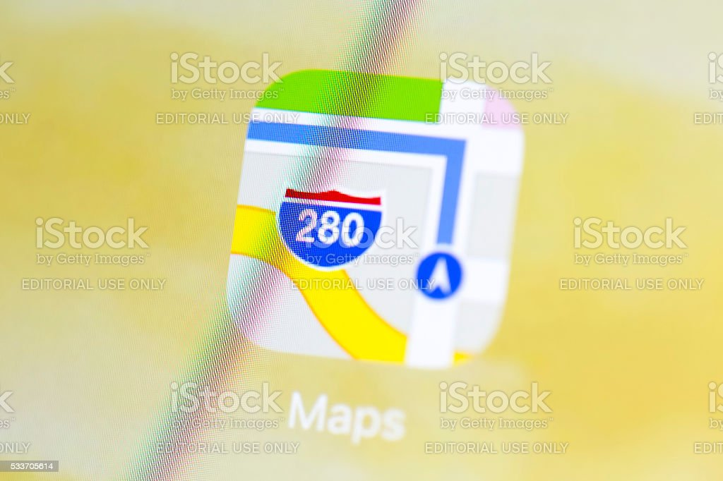 Apple IPad Air Screen with Maps App Icon stock photo