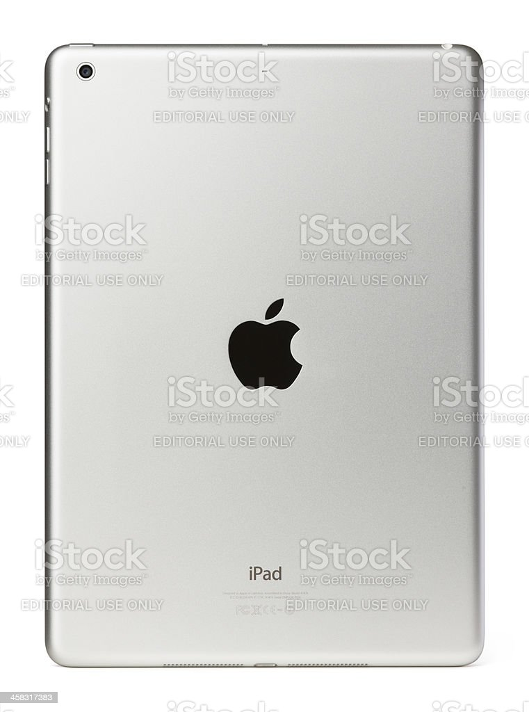 Apple iPad Air Silver White Back Gen 5 Clipping Path royalty-free stock photo