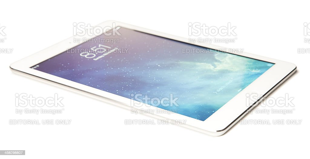 Apple iPad Air Silver White Gen 5 with Clipping Path royalty-free stock photo