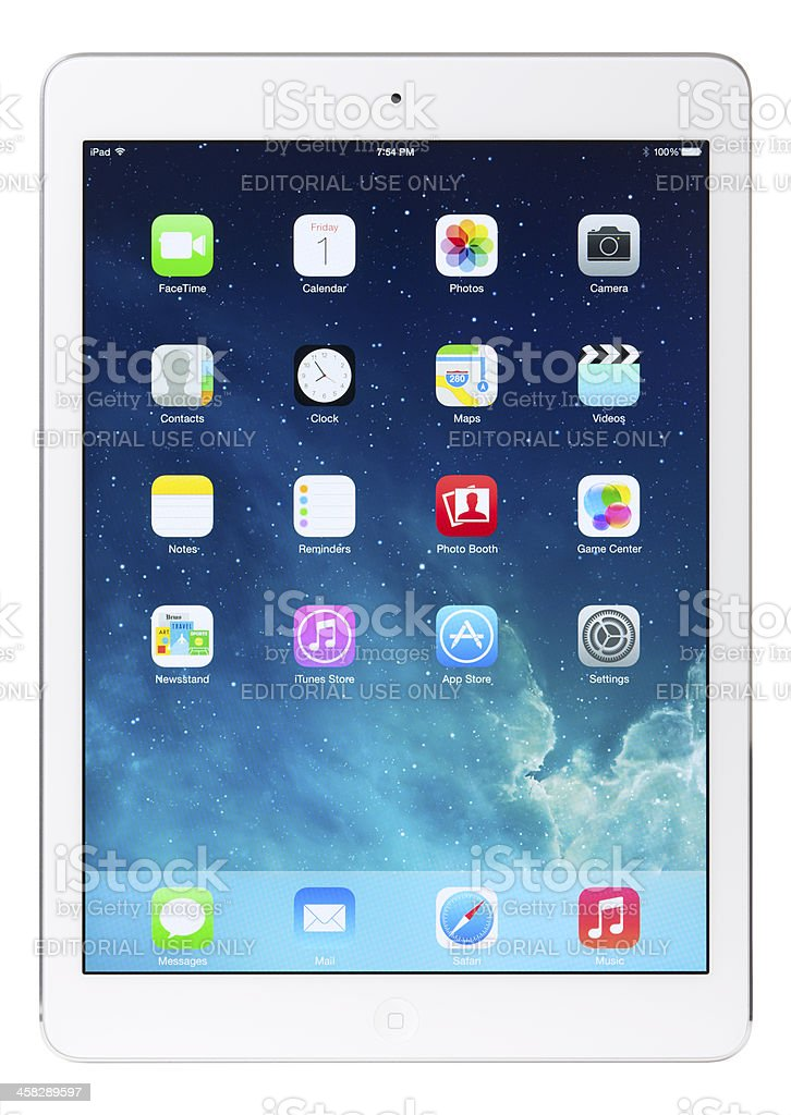 Apple iPad Air Silver White Gen 5 with Clipping Paths royalty-free stock photo