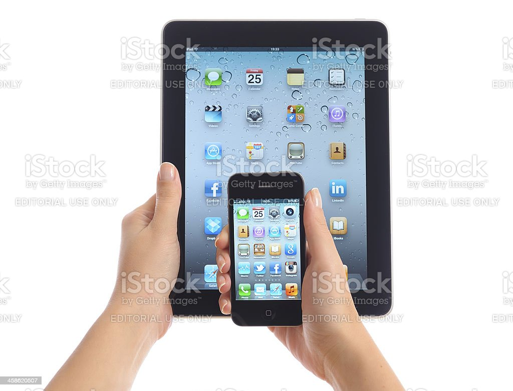 Apple iPad and iPhone 4 stock photo
