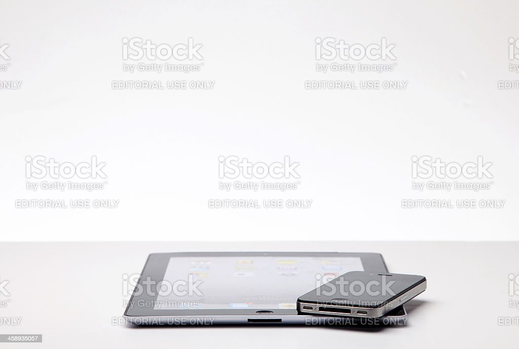 Apple iPad and iPhone royalty-free stock photo