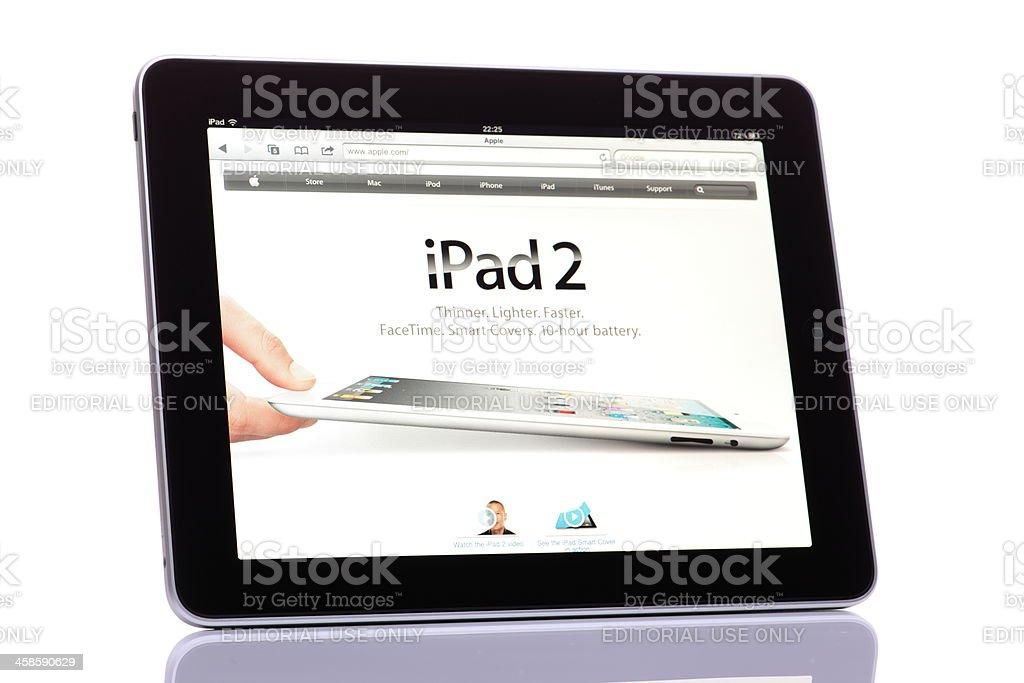 Apple iPad displaying iPad2 page on www.apple.com royalty-free stock photo