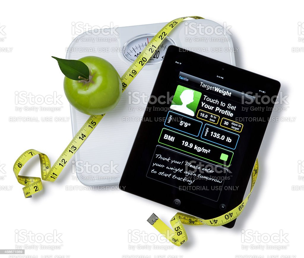 Apple iPad II with a Scale and Tape Measure royalty-free stock photo