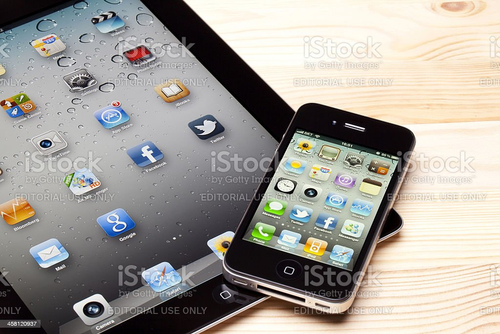 Apple iPad & iPhone Apps royalty-free stock photo