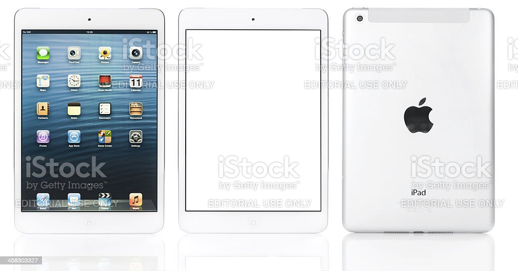 Apple iPad mini in white stock photo