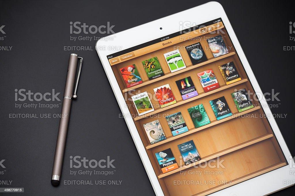 Apple iPad Mini with iBooks Screen royalty-free stock photo