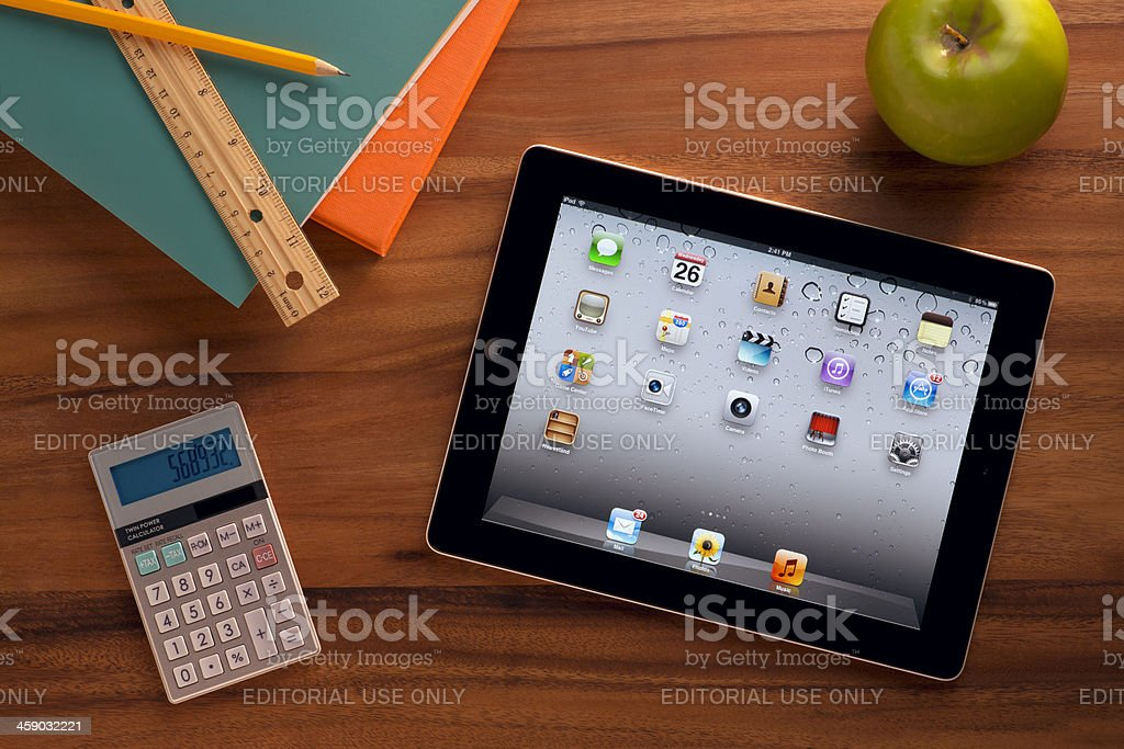Apple iPad on a Classroom Desk royalty-free stock photo