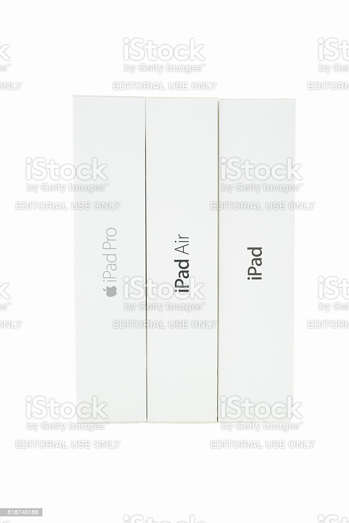 Apple iPad Pro  iPad Air 2 Apple iPad 2 Boxes stock photo