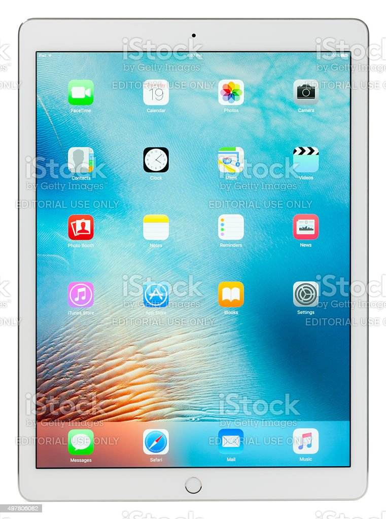 Apple iPad Pro White Silver with Clipping Paths stock photo