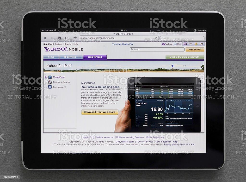 Apple Ipad showing Yahoo web page stock photo