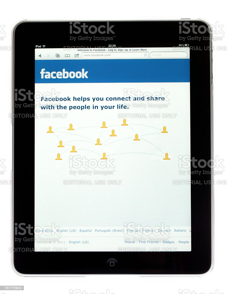 Apple Ipad tablet with picture facebook site on screen royalty-free stock photo