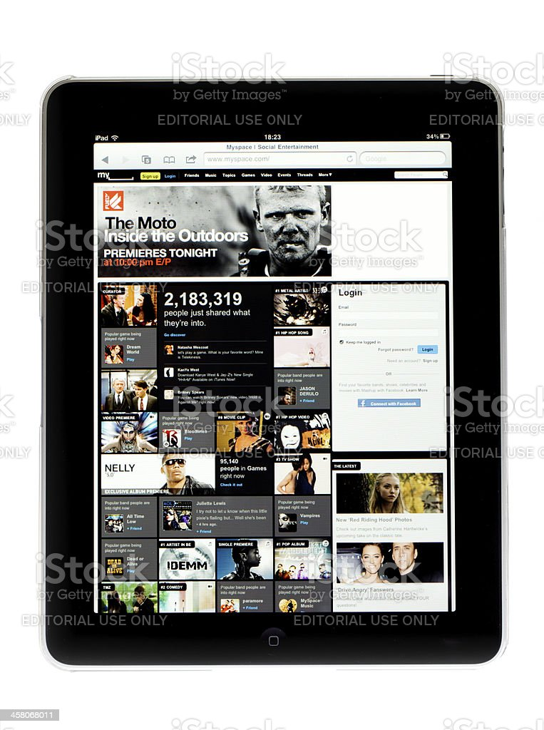 Apple Ipad tablet..Picture of My space social entertaiment on sc stock photo