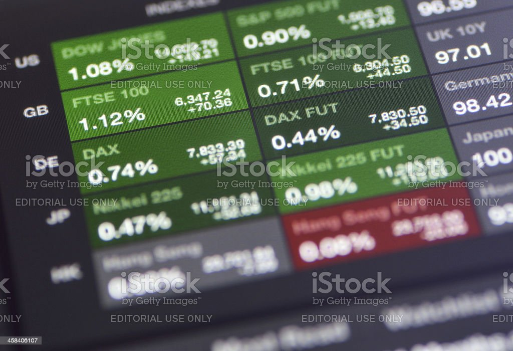 Apple ipad with Bloomberg market trading apps royalty-free stock photo
