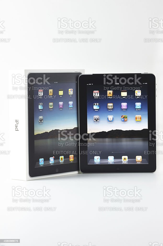 Apple iPad With It's Packaging Box stock photo