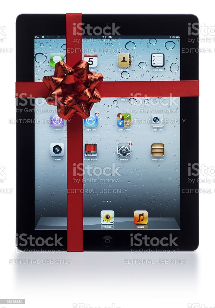 Apple iPad with Red Bow royalty-free stock photo