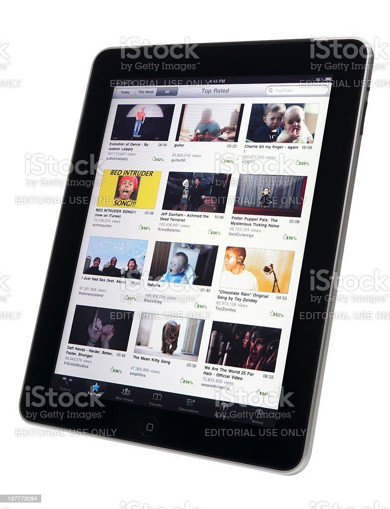 Apple iPad & YouTube royalty-free stock photo