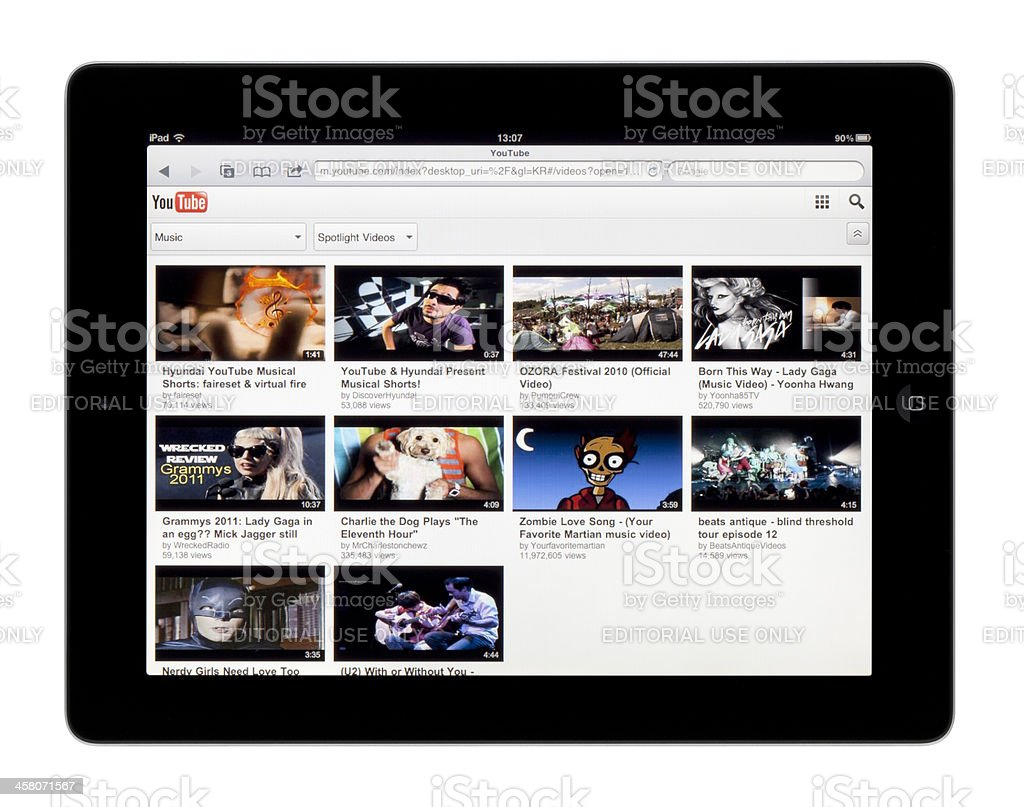Apple iPad & YouTube stock photo