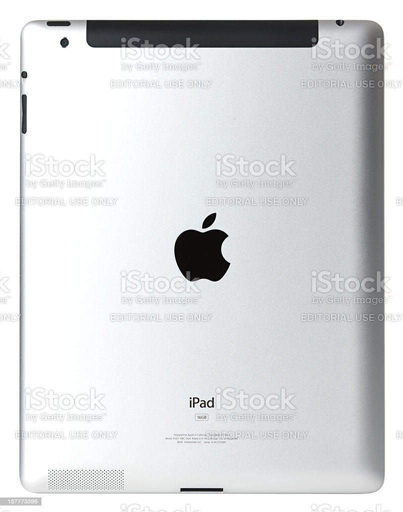 Apple iPad2 Wi-Fi + 3G Back Side with Clipping Path royalty-free stock photo
