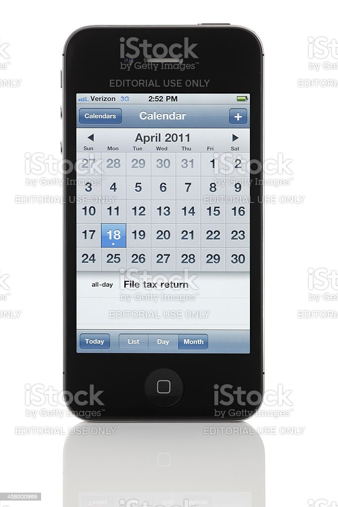 Apple iPhone 4 - Calendar Reminder for 2011 Taxes stock photo