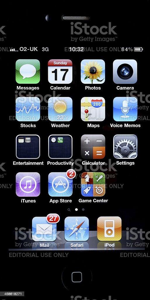 Apple iPhone 4 home screen royalty-free stock photo