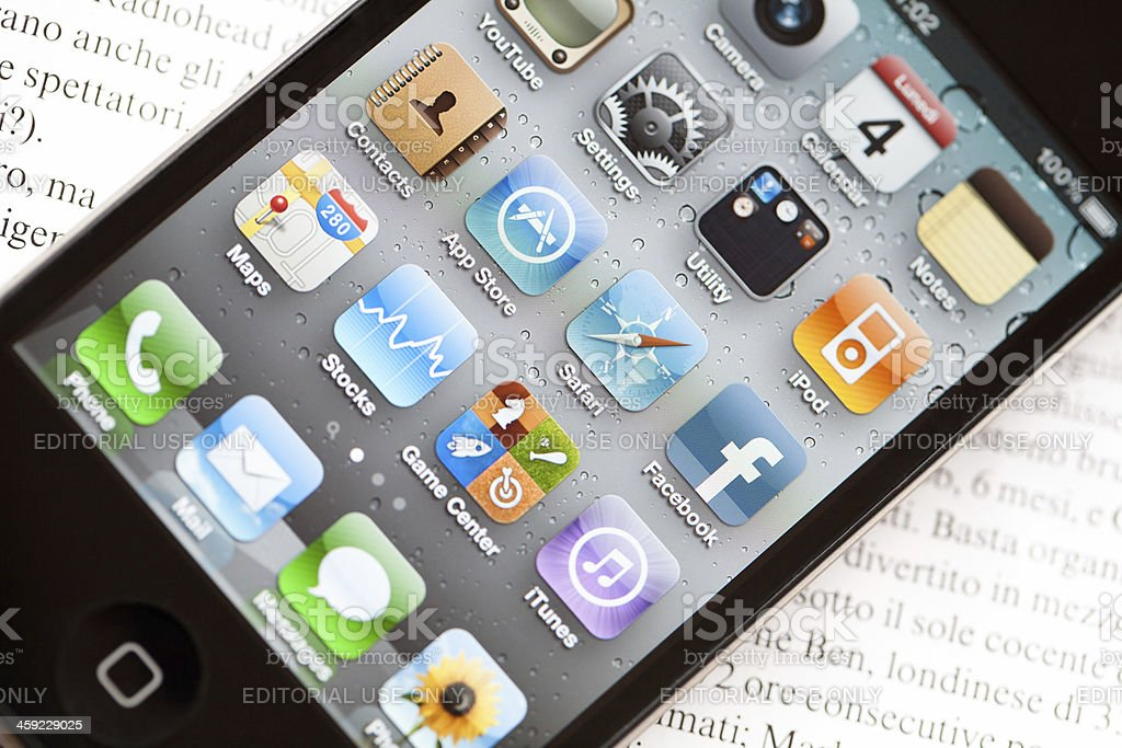 Apple iPhone 4 homepage royalty-free stock photo