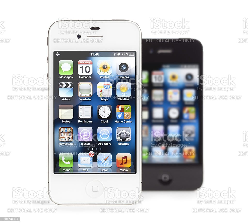 Apple iPhone 4, white and black, isolated royalty-free stock photo