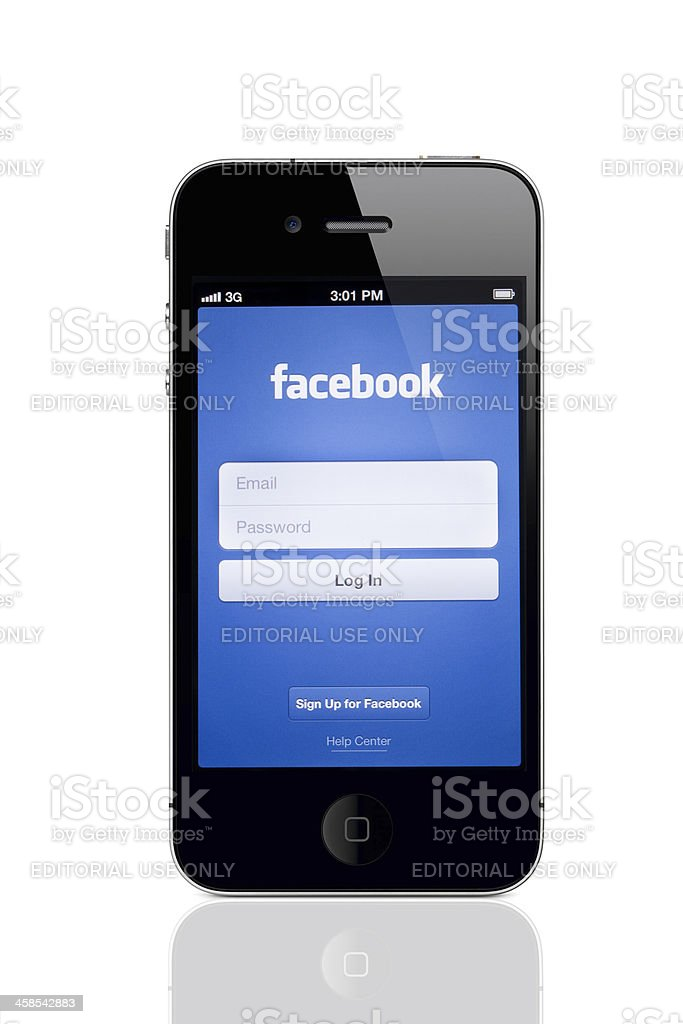 Apple iPhone 4 with Facebook Login Screen royalty-free stock photo