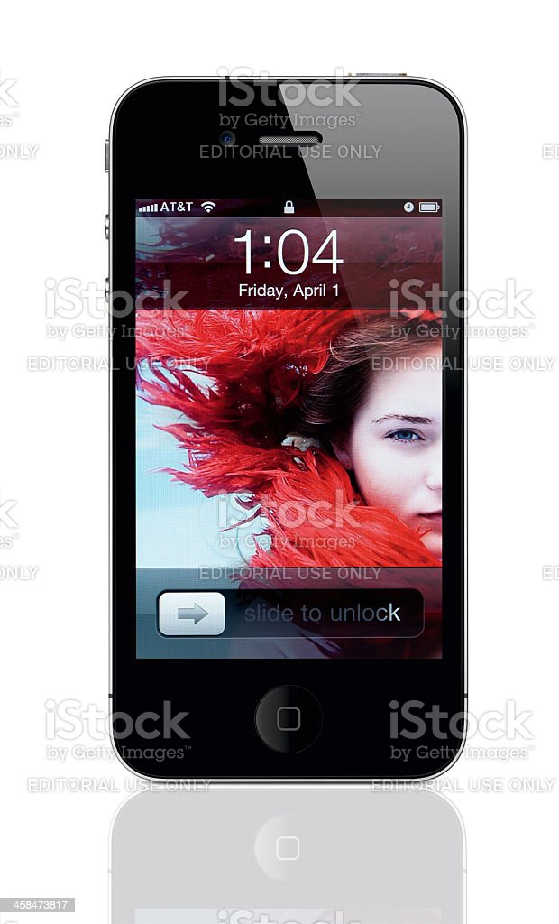 Apple iPhone 4 with Lock Screen stock photo