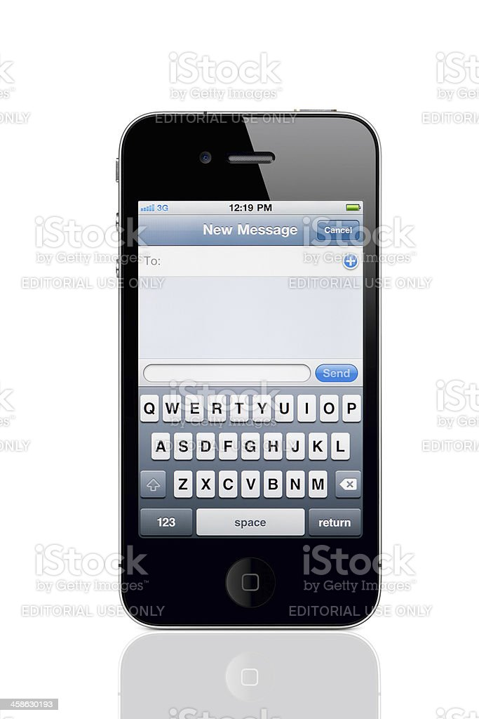 Apple iPhone 4 with New Message Screen stock photo