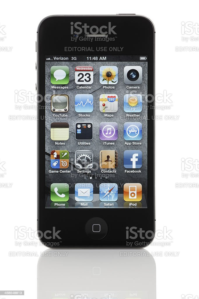 Apple iPhone 4 with Stone Wallpaper (Verizon Wireless) royalty-free stock photo