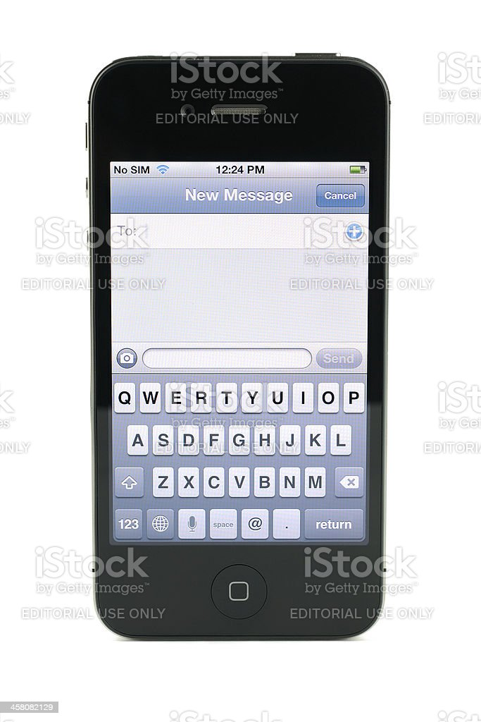 Apple iPhone 4s text message stock photo