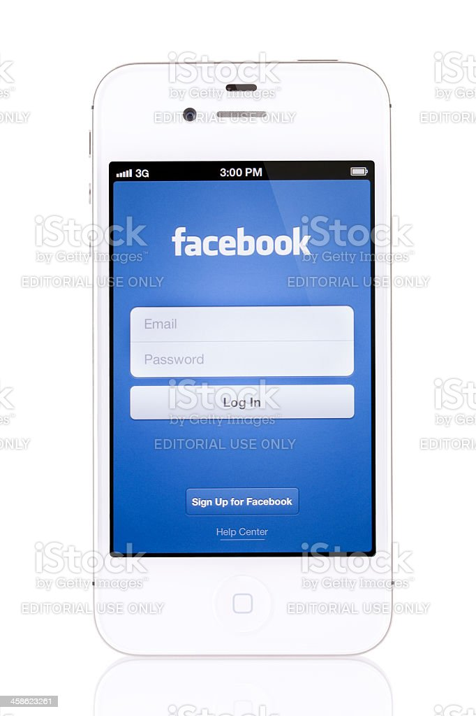 Apple iPhone 4s White with Facebook stock photo