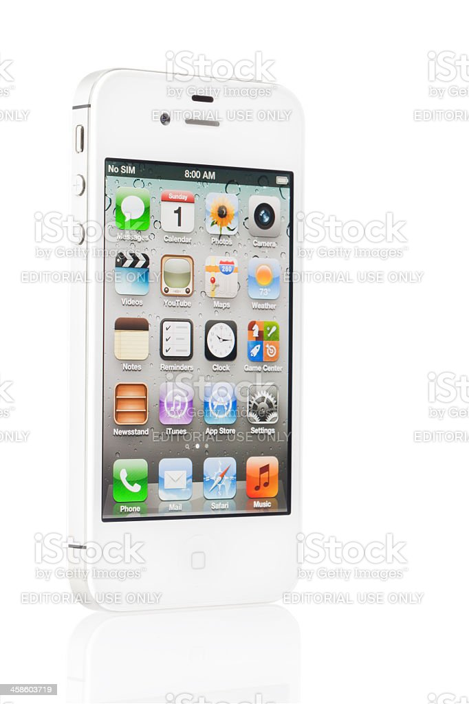 Apple iPhone 4s White with Home Screen royalty-free stock photo