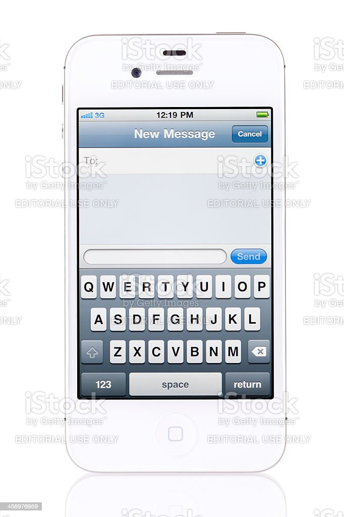 Apple iPhone 4s with New Message Screen stock photo