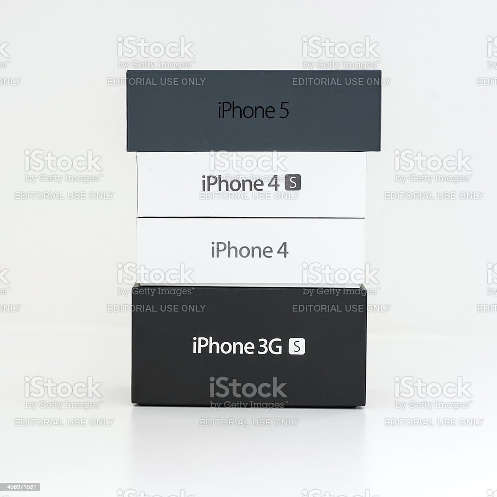 Apple iPhone 5 4S 4 3GS Family Product Stack royalty-free stock photo
