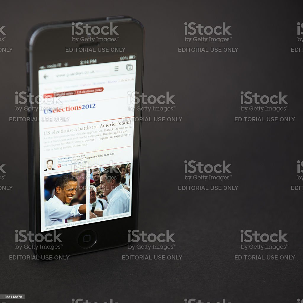 Apple Iphone 5 and us election 2012 stock photo