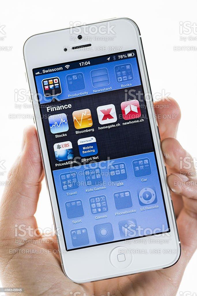 Apple iPhone 5, Finance folder stock photo