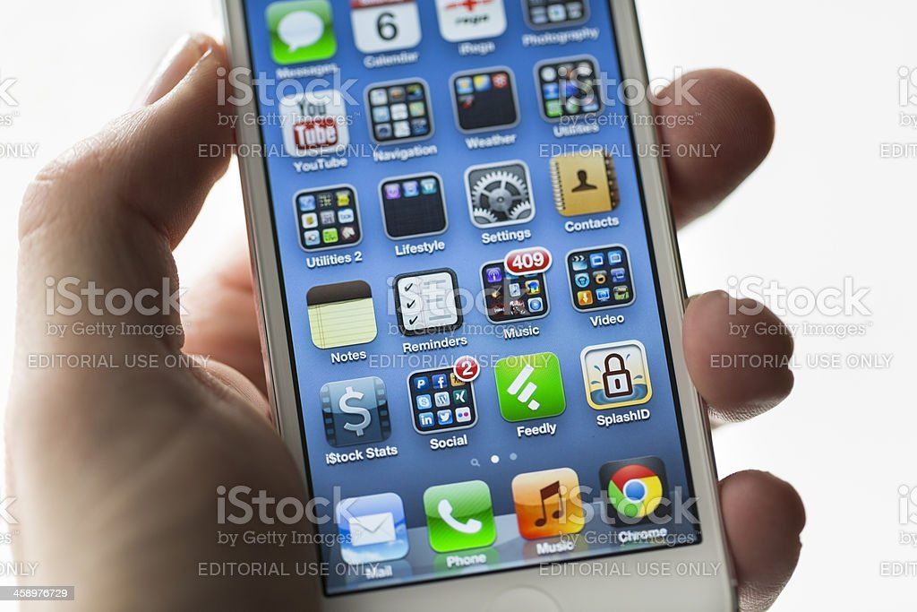 Apple iPhone 5, Home Screen stock photo