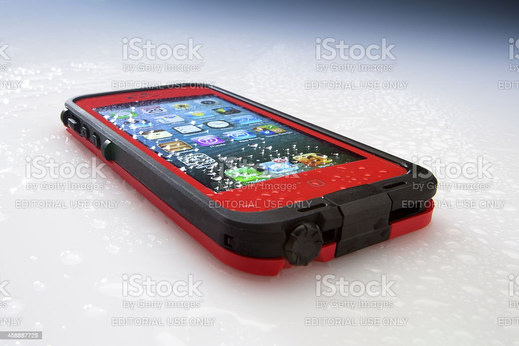 Apple iPhone 5 in Lifeproof Case royalty-free stock photo