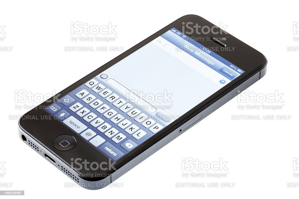 Apple iPhone 5, messaging royalty-free stock photo