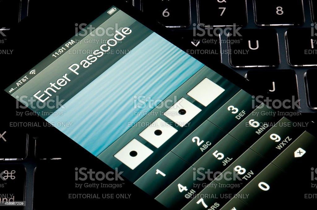 Apple Iphone 5 Passcode royalty-free stock photo