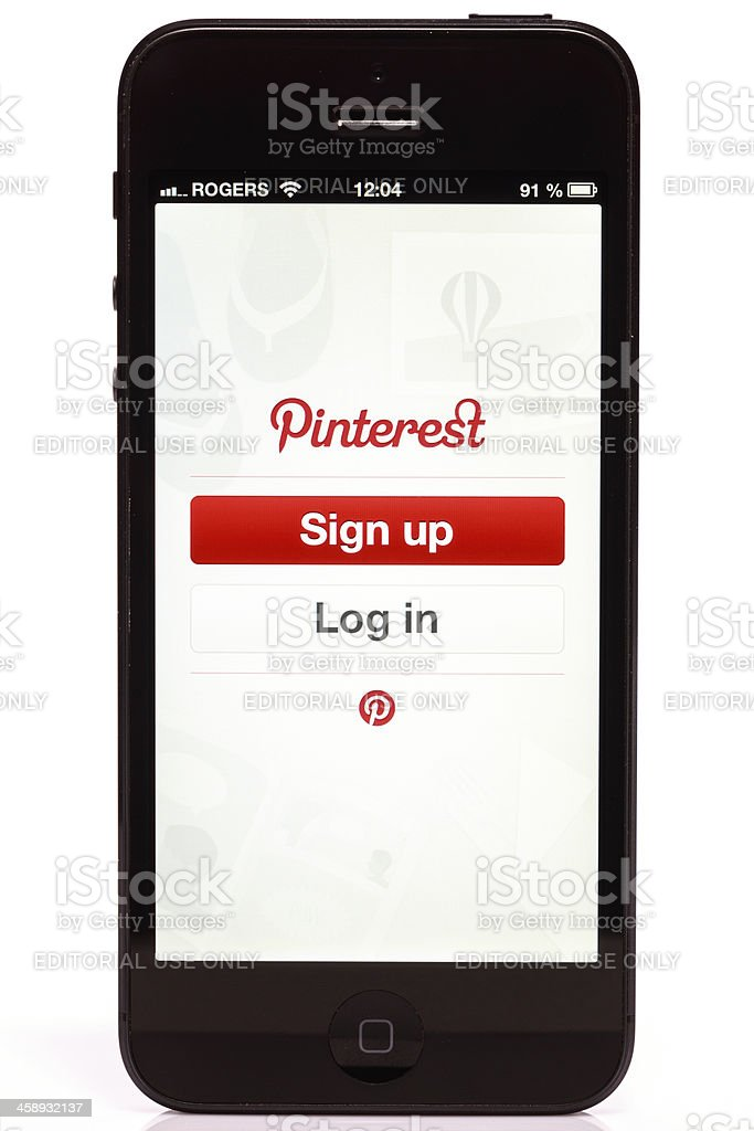 Apple iPhone 5 Pinterest Login Screen Isolated on White Background stock photo