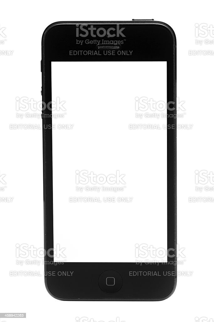 Apple iPhone 5 White Screen Isolated on White Background royalty-free stock photo