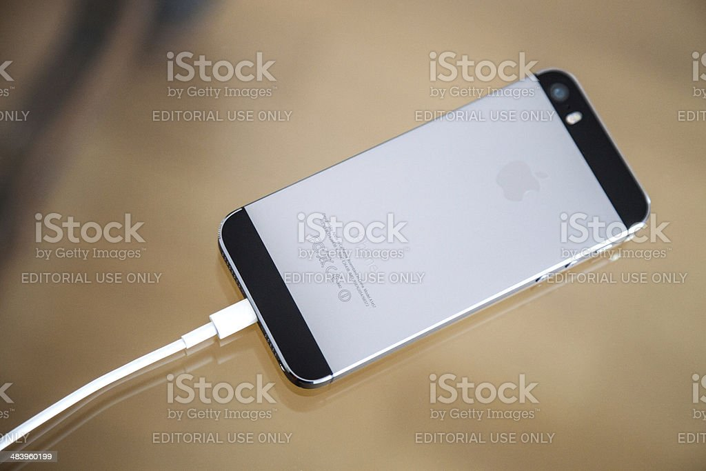 Apple iPhone 5s Backside and charger cable royalty-free stock photo