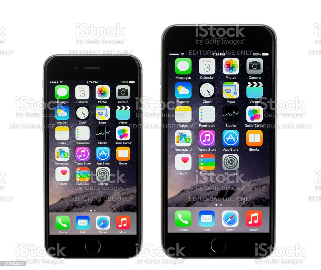 Apple iPhone 6 and 6 Plus Space Gray stock photo