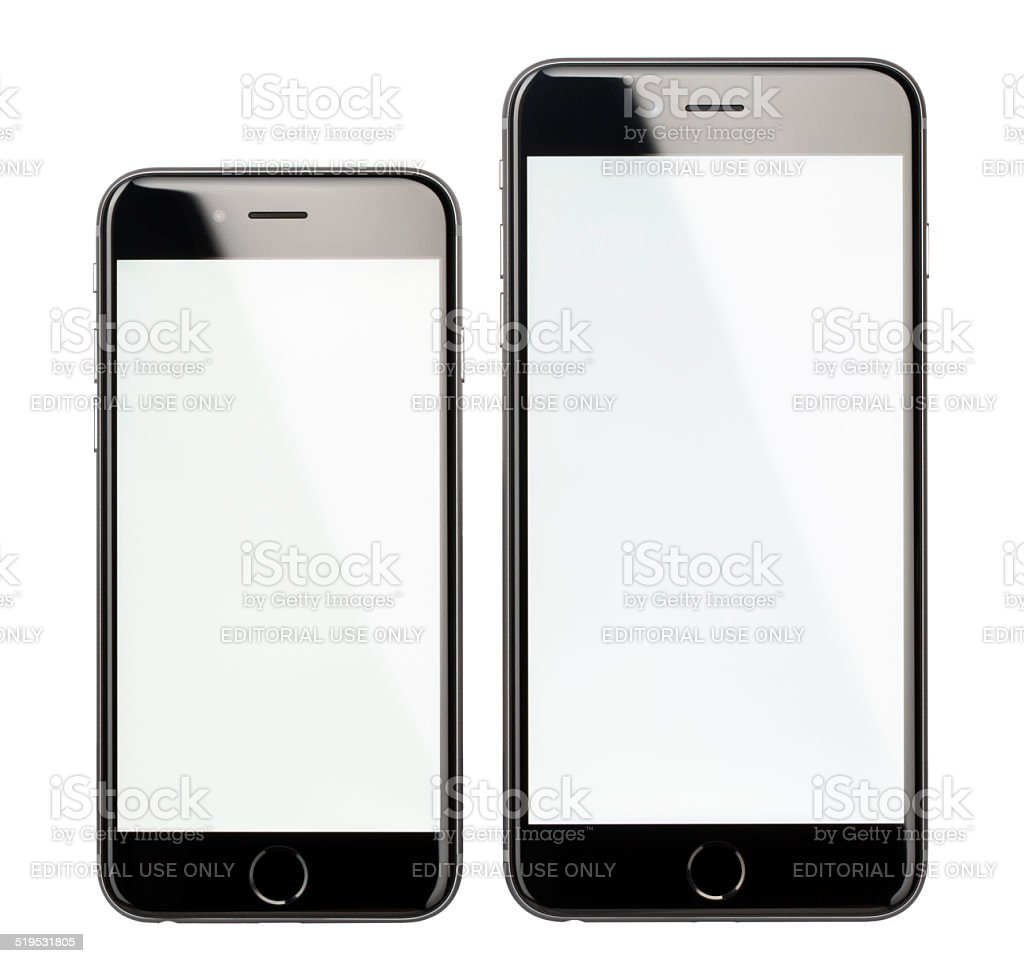 Apple iPhone 6 and 6 Plus Space Gray with Blank Screen stock photo