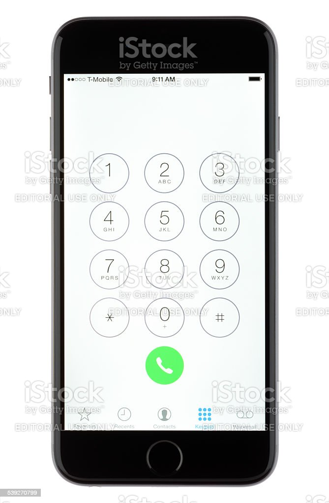 Apple iPhone 6 Dialer stock photo