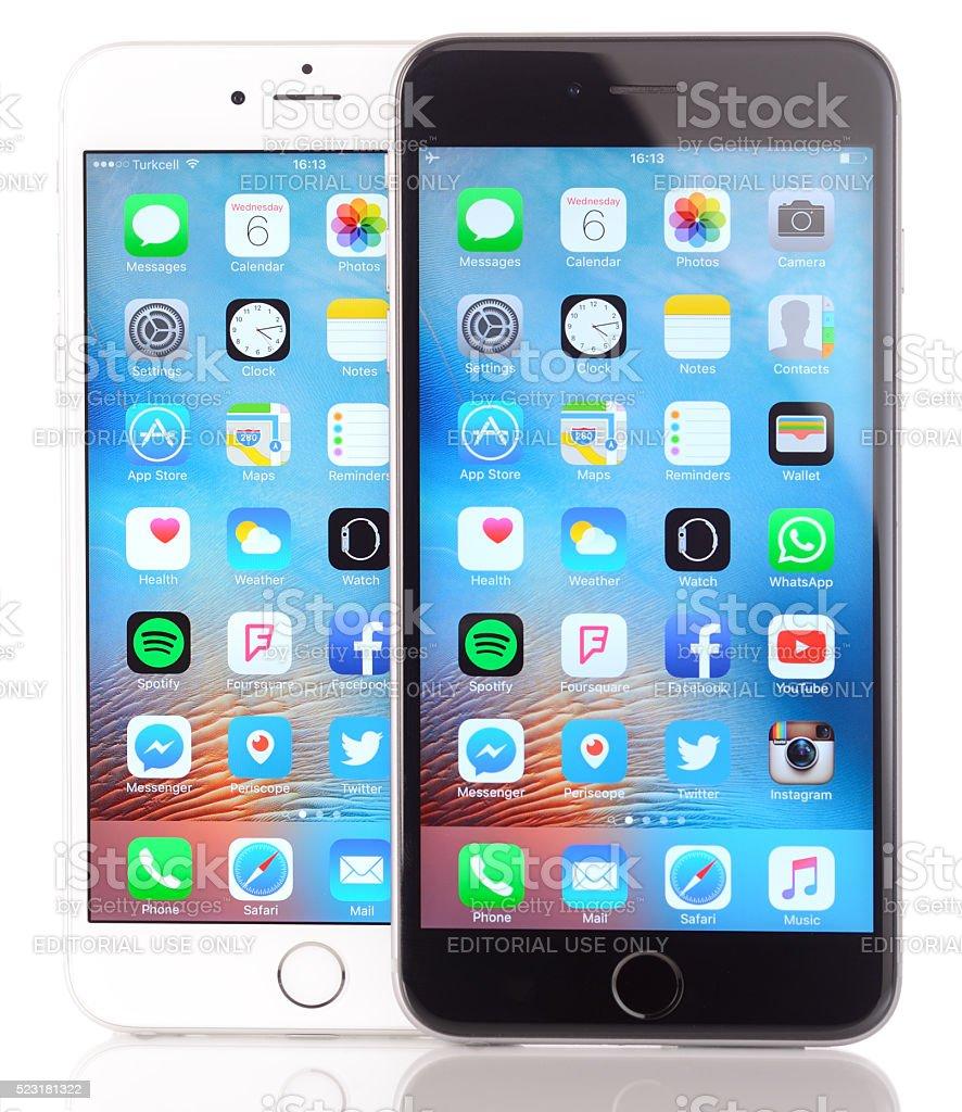 Apple iPhone 6 Plus black and white stock photo
